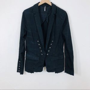 Free People blk distressed denim conductor jacket